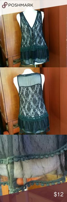 "Pretty Angel black lace vest romantic steampunk Pretty Angel lace black overlay vest Adds charm to basics or great steampunk /  boho  addition to your wardrobe   Measurements are approximate : Armpit to armpit  laying flat buttoned 17"" Shoulder to hem: 30"" Pretty Angel Tops Tank Tops"