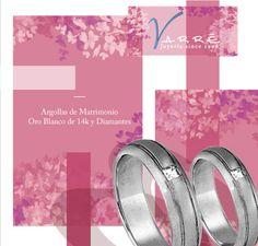 Marzo... Primavera 2016 ♥♥♥ Argollas de Matrimonio Platino & Diamante / Churumbelas /Joyería Oro Blanco de 14k / Anillo de Compromiso... #yonovia #joyería #amor #compromiso #marzo #primavera #boda