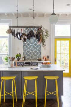 As you can see from these grey kitchen ideas, a classic grey kitchen is timeless. Grey kitchen cabinets have the power to suit virtually any scheme. Grey Kitchens, Modern Farmhouse Kitchens, Rustic Kitchen, Cool Kitchens, Yellow Kitchens, Kitchen Yellow, Kitchen Grey, Küchen Design, Home Design