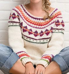 Warm up your winter wardrobe with this delightful colorful winter crochet sweater! Christmas Fair Isle Crochet Sweater pattern by Simone Francis is the perfect piece. Jumper Patterns, Knitting Patterns, Crochet Patterns, Crochet Cardigan, Knit Crochet, Crochet Sweaters, Crochet Jumper Pattern, Crochet Tops, Crochet Stitches