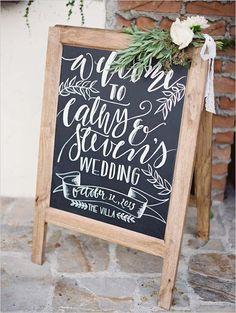 Beautifully calligraphed chalkboard sign. Design: Mon Voir ---> http://www.weddingchicks.com/2014/05/21/weddingchickshappyhour2/