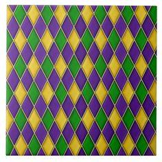 Mardi Gras Harlequin Diamond Pattern Tiles