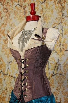 Waist 38 to 40 Pewter Corsair Corset by damselinthisdress on Etsy