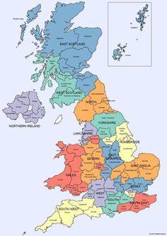 Map of regions and counties of england wales scotland england uk map of regions and counties of england scotland wales and northern ireland gumiabroncs Gallery