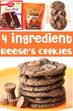 Reeses Peanut Butter Cups Cookies Recipe! Easy Cake Mix Cookie with just 4 ingredients! These delicious, decadent treats are one of the EASIEST desserts you'll ever make, and will disappear as fast as you can make them! Go grab the recipe and give them a try this week!
