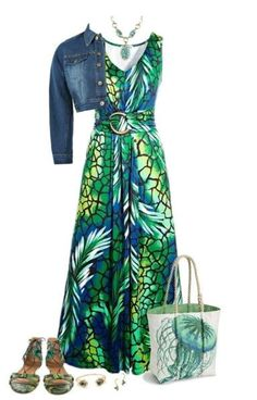 Modest long green dress and jean jacket.