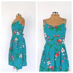 Vintage 1950's Malia Dress Blue Rose Floral Cotton Sundress Picnic Dress Size Medium Garden Party Bridesmaid Tea Dress Full Skirt Rockabilly