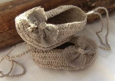 Linen Baby Girl Shoes, Baby Girl Gift, Christening/Blessing Baby Shoes, Made to order by ManCrochets on Etsy https://www.etsy.com/listing/115458311/linen-baby-girl-shoes-baby-girl-gift