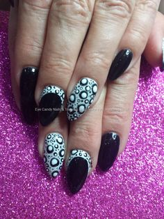 Black and white gel polish with spotty nail art