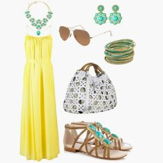 Yellow&Aqua.; Love the dress! And these colors together
