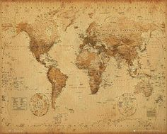 World Map Poster 17th Century Style With Gold Ink  Satin Matt Laminated New