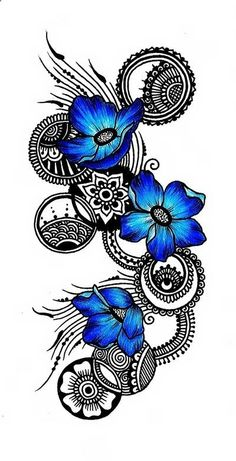 gorgeous doodle in black with circles … and three bright blue flowers … beautiful and dramatic …