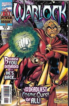 Resurrection _Written by Tom Lyle. Art and cover by Tom Lyle and Robert Jones , It's a cosmic murder mystery as the cosmic warrior known as Adam Warlock returns to the Marvel Universe! After his trava