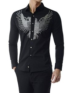 Thelees (UNLS15) Luxury Casual Slim Fit Stud Eagle Decoration Soft Cotton Shirt BLACK Chest 40(Tag size L) TheLees http://www.amazon.com/dp/B01954OEU8/ref=cm_sw_r_pi_dp_GHNBwb11VPCZ0