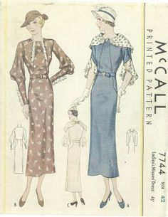 1930s Sewing Pattern - McCall 7744