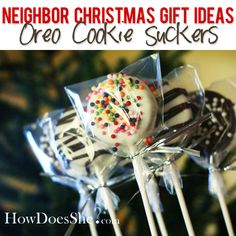 #23 Neighbor Christmas Gift Ideas – Oreo Cookie Suckers | How Does She...