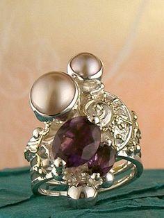 серебро и золото, аметист, жемчуг, Григорий Пыра Пиро кольца спирали 1825