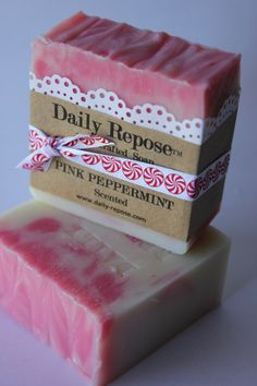 PINK PEPPERMINT SOAP Handmade Soap Bar  Natural  Vegan Cold Process Soaps