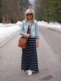 Pair a denim jacket with a striped maxi dress and cute Converse sneakers. http://www.thestyleup.com//style/mskk5