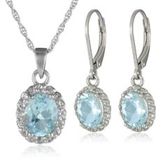 Sterling Silver Blue and White Topaz Pendant and Earrings Fashion Bug Set www.fashionbug.us