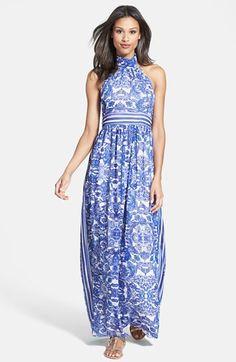 Eliza J Halter Neck Print Chiffon Maxi Dress available at #Nordstrom