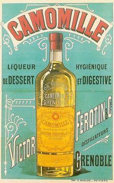 Camomille Liqueur digestif. Alcohol Vintage poster / vieille affiche publicitaire d'alcool. Drink ads.