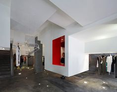 """This labyrinth-like fashion store in Hangzhou, China, by Architecture Studio features a hidden love room """"equipped with bar and condoms"""". Concrete Staircase, Light Brick, Grey Ceiling, Chief Architect, Take The Stairs, Cafe Interior Design, Ground Floor Plan, Building Facade, Hangzhou"""