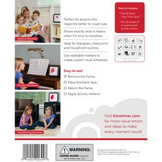 The Visual Schedule Kit for Time Timer® is ideal for kids or any person who benefits from the ability to view pictures of activities instead of numbers.