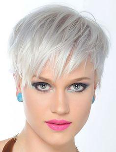 Easy Hairstyles for Short Hair 2018 & Pixie Hair Cuts – Styles Art - Hair Styles Grey Hair Dye, Grey Wig, Short Grey Hair, Short Hair Cuts, Dyed Hair, Short Pixie, Pixie Cuts, Pixie Hairstyles, Pixie Haircut