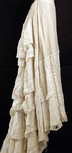 Mid-Victorian Era Petticoat (circa 1870's); Design-American or European.  Medium: cotton; Accession Number: C.I.38.23.284