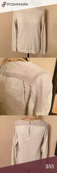 """Rebecca Taylor sweater VGUC, no signs of visible wear or stains. Lightweight Heather oatmeal color sweater with sheer shoulders and back zip. Shell: 40% nylon, 30% and 30% viscose. Combo fabric: 100% silk. Size Medium but fits small IMO. Pit to pit approximately 18"""". Dry clean only. 🚫No lowball offers. 💰I offer a 10% bundle discount on 3 or more items. Rebecca Taylor Sweaters Crew & Scoop Necks"""