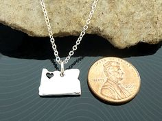 MADE TO ORDER: 2 WEEKS SMALL OREGON STATE necklace in sterling silver. This is a very solid necklace, thick as a penny. 1) Customize heart