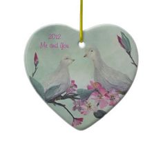 Love Doves Ornament with customizable TEXT