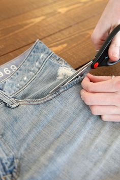 How To DIY 3 Extra-Cute Pairs Of Cut-Off Shorts #refinery29  http://www.refinery29.com/30687#slide22  Step 10: Use scissors to cut carefully along the outside of the pocket. Make sure to cut enough to fray the fabric, but not too much to break the hem, which will cause them to unravel.Photographed by Erin Yamagata