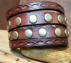 Chunky Leather Cuff Bracelet-Mahagony-Antiqued by LeatherVision