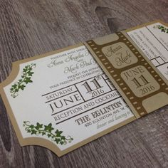 movie ticket invitation wedding invitation by polkadotinvites - Movie Ticket Wedding Invitations
