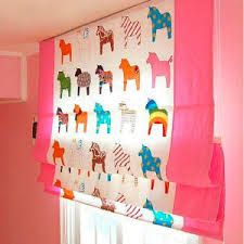 Kids Little Poney Cotton Blackout Curtains in Pink , Buy Multi-color Print Kid/Teen Curtains, Cheap Cotton Curtains Sale