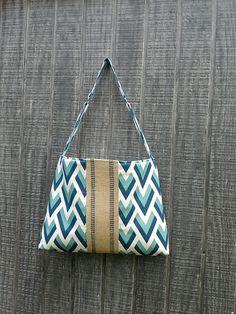 Handbag Purse Tote Diaper Bag in Blue with Jute by DandelionHoney, $46.00