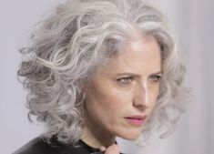 your hair is silver & beautiful! Grey Curly Hair, Curly Hair Styles, Grey Hair And Glasses, Grey Hair Styles For Women, Silver Haired Beauties, Silver White Hair, Sexy Curls, Great Hair, Hair Today