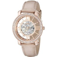Fossil Women's ME3060 Curiosity Automatic Self-Wind Leather Watch -... ($199) ❤ liked on Polyvore featuring jewelry, watches, skeleton wrist watch, leather watches, fossil jewelry, skeleton jewelry and roman numeral jewelry