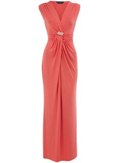 Coral slinky maxi dress with twist front detail and embellished broach waist wearing length 143 cms. 95 polyester, 5 elastane. Machine washable.