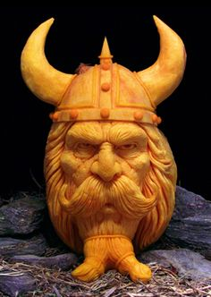 Furniture and Accessories. Unbelievable Lifelike Viking Halloween Pumpkin Carving by Ray Villafane. The Coolest Halloween Pumpkin Carvings I. 3d Pumpkin Carving, Awesome Pumpkin Carvings, Pumpkin Art, Pumpkin Faces, Pumpkin Head, Scary Pumpkin, Pumpkin Crafts, Happy Halloween, Halloween Jack