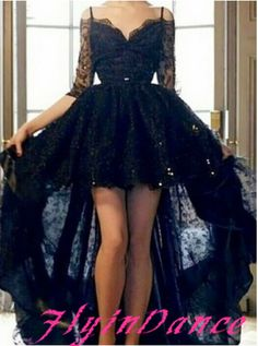 High Low Black Evening Dresses Sexy Prom Gown With Half Sleeves Lace Party Dress For Teens Lace Formal Gowns