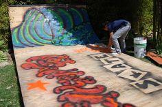 spray paint graffiti on skate ramp half pipe http://californiapixie.com/2012/06/20/the-9-lives-of-a-backyard-skate-ramp/