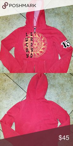 #13 Lucky Brand like new zip up..... Like new lucky #13 in lucky color red, zip up hooded sweatshirt with design Lucky Brand Tops Sweatshirts & Hoodies