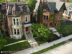 Woodward East Historic District Brush Park Detroit, Michigan, USA The house on the left is known as the John P. Fiske House and the one on the right as the George Ladve House. Photo taken by a camera lofted by a kite (Kite Aerial Photography--KAP). Victorian Architecture, Beautiful Architecture, Beautiful Buildings, Beautiful Homes, Beautiful Places, Classical Architecture, Old Buildings, Abandoned Buildings, Abandoned Places
