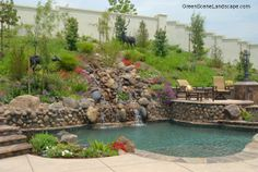 Natural style swimming pool with waterfall and raised spa and patio Garden Swimming Pool, Swimming Pool Landscaping, Swimming Pools, Landscaping Ideas, Backyard Ideas, Outdoor Sheds, Outdoor Gardens, Outdoor Spaces, Indoor Garden