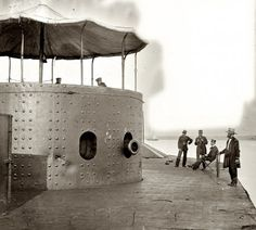 July 9, 1862. Deck and turret of U.S.S. Monitor on the James River, Virginia. From photographs of the Federal Navy, and seaborne expeditions against the Atlantic Coast of the Confederacy. Photographed by James F. Gibson.