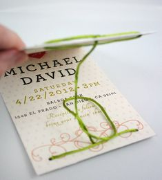 Love the tie closure!  tie the knot wedding invitations by one little m #handmade #wedding #invitations