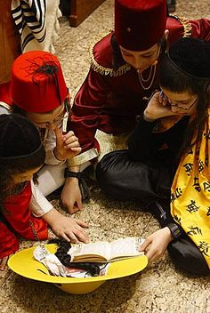 Purim celebration . Belz Synagogue . Jerusalem